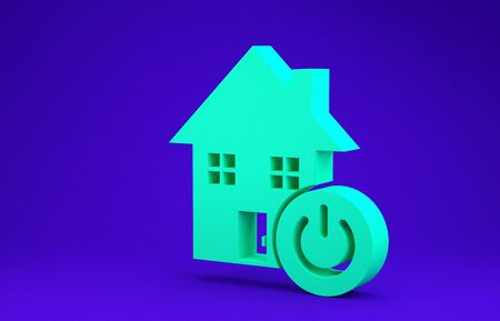 Green Smart home icon isolated on blue background. Remote control. Minimalism concept. 3d illustration 3D render