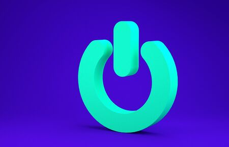 Green Power button icon isolated on blue background. Start sign. Minimalism concept. 3d illustration 3D render Stock fotó