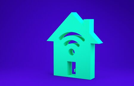 Green Smart home with wifi icon isolated on blue background. Remote control. Minimalism concept. 3d illustration 3D render Reklamní fotografie