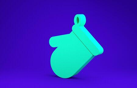 Green Oven glove icon isolated on blue background. Kitchen potholder sign. Cooking glove. Minimalism concept. 3d illustration 3D render Zdjęcie Seryjne