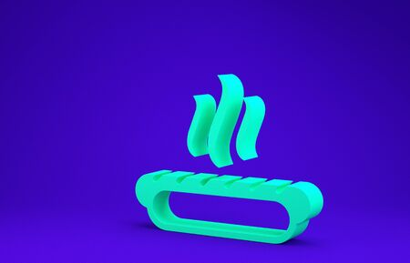 Green Hotdog sandwich with mustard icon isolated on blue background. Sausage icon. Fast food sign. Minimalism concept. 3d illustration 3D render 写真素材