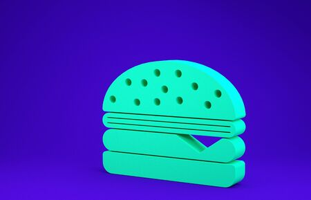 Green Burger icon isolated on blue background. Hamburger icon. Cheeseburger sandwich sign. Minimalism concept. 3d illustration 3D render