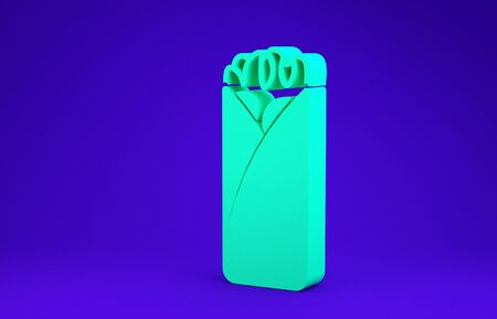 Green Burrito icon isolated on blue background. Traditional mexican fast food. Minimalism concept. 3d illustration 3D render 写真素材