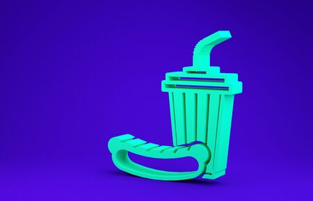 Green Soda and hotdog icon isolated on blue background. Fast food symbol. Minimalism concept. 3d illustration 3D render 写真素材