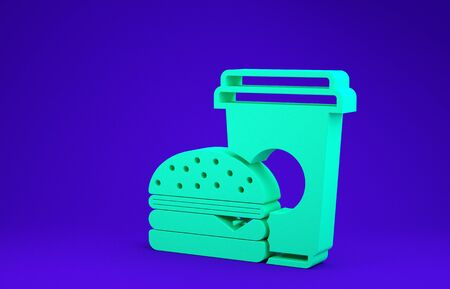 Green Coffee and burger icon isolated on blue background. Fast food symbol. Minimalism concept. 3d illustration 3D render 写真素材