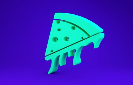 Green Slice of pizza icon isolated on blue background. Minimalism concept. 3d illustration 3D render Фото со стока