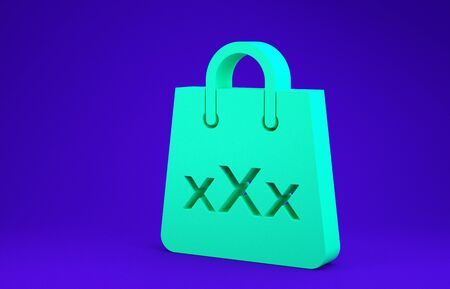 Green Shopping bag with a triple X icon isolated on blue background. Minimalism concept. 3d illustration 3D render 스톡 콘텐츠