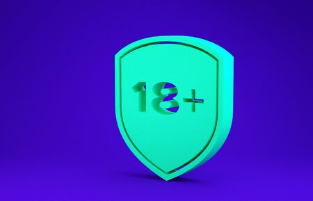 Green Shield with inscription 18 plus icon isolated on blue background. Adults content only. Protection, safety, security, protect concept. Minimalism concept. 3d illustration 3D render 스톡 콘텐츠
