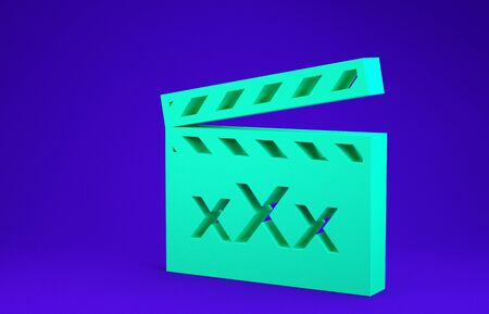 Green Movie clapper with inscription XXX icon isolated on blue background. Age restriction symbol. 18 plus content sign. Adult channel. Minimalism concept. 3d illustration 3D render