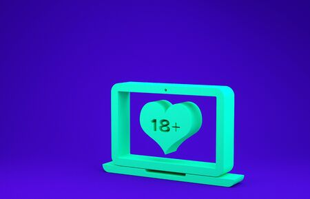Green Laptop computer with 18 plus content heart icon isolated on blue background. Age restriction symbol. 18 plus content sign. Adult channel. Minimalism concept. 3d illustration 3D render