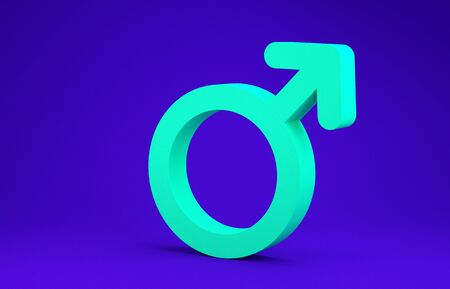 Green Male gender symbol icon isolated on blue background. Minimalism concept. 3d illustration 3D render Standard-Bild - 134788252