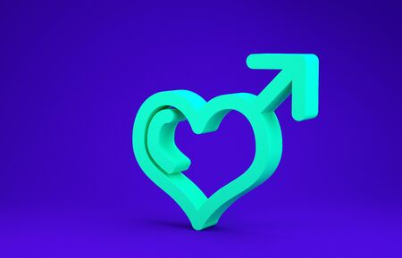 Green Male gender symbol and heart icon isolated on blue background. Minimalism concept. 3d illustration 3D render Standard-Bild - 134788254