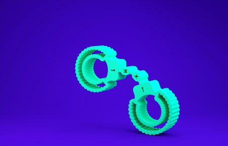 Green Sexy fluffy handcuffs icon isolated on blue background. Handcuffs with fur. Fetish accessory. Sex shop stuff for sadist and masochist. Minimalism concept. 3d illustration 3D render