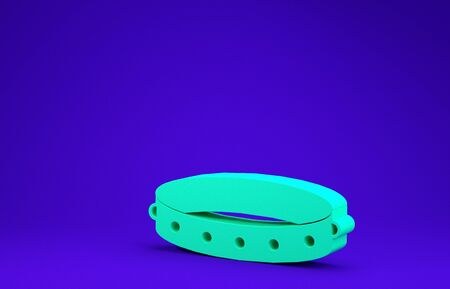 Green Leather fetish collar with metal spikes on surface icon isolated on blue background. Fetish accessory. Sex toy for men and woman. Minimalism concept. 3d illustration 3D render