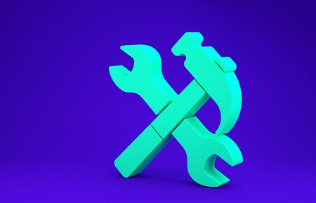 Green Crossed hammer and wrench icon isolated on blue background. Hardware tools. Minimalism concept. 3d illustration 3D render