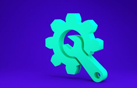 Green Wrench and gear icon isolated on blue background. Adjusting, service, setting, maintenance, repair, fixing. Minimalism concept. 3d illustration 3D render Stock Photo