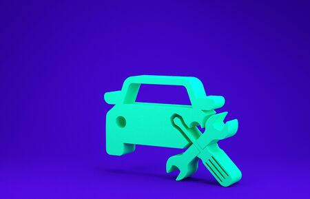 Green Car with screwdriver and wrench icon isolated on blue background. Adjusting, service, setting, maintenance, repair, fixing. Minimalism concept. 3d illustration 3D render