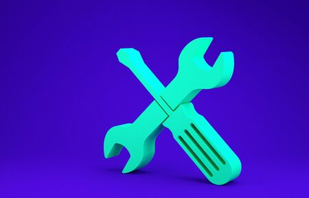 Green Crossed screwdriver and wrench tools icon isolated on blue background. Service tool symbol. Minimalism concept. 3d illustration 3D render
