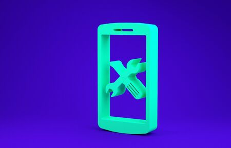 Green Smartphone with screwdriver and wrench icon isolated on blue background. Adjusting, service, setting, maintenance, repair, fixing. Minimalism concept. 3d illustration 3D render