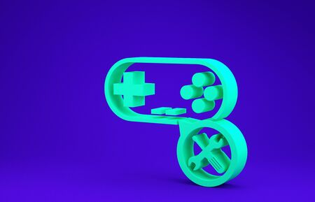 Green Gamepad with screwdriver and wrench icon isolated on blue background. Adjusting, service, setting, maintenance, repair, fixing. Minimalism concept. 3d illustration 3D render 版權商用圖片