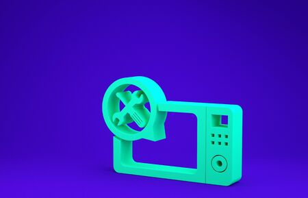 Green Microwave oven with screwdriver and wrench icon isolated on blue background. Adjusting, service, setting, maintenance, repair, fixing. Minimalism concept. 3d illustration 3D render Zdjęcie Seryjne