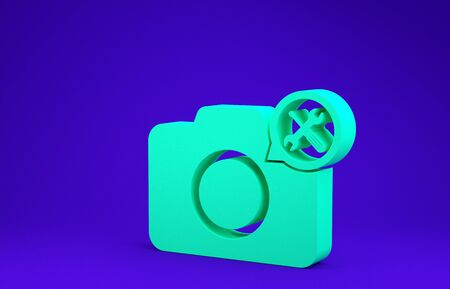 Green Photo camera with screwdriver and wrench icon isolated on blue background. Adjusting, service, setting, maintenance, repair, fixing. Minimalism concept. 3d illustration 3D render