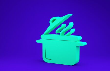 Green Cooking pot icon isolated on blue background. Boil or stew food symbol. Minimalism concept. 3d illustration 3D render