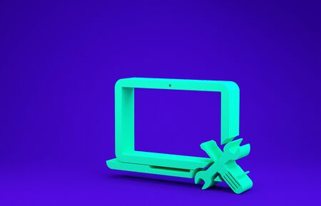 Green Laptop with screwdriver and wrench icon isolated on blue background. Adjusting, service, setting, maintenance, repair, fixing. Minimalism concept. 3d illustration 3D render Stock fotó