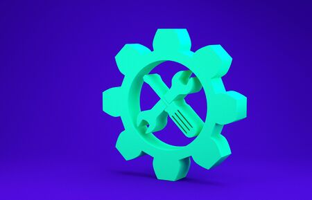 Green Maintenance symbol - wrench and screwdriver in gear icon isolated on blue background. Service tool symbol. Minimalism concept. 3d illustration 3D render