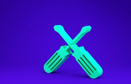 Green Crossed screwdrivers icon isolated on blue background. Service tool symbol. Minimalism concept. 3d illustration 3D render