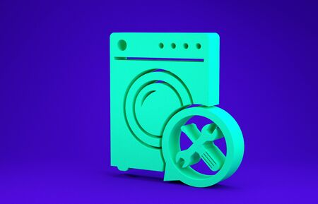 Green Washer with screwdriver and wrench icon isolated on blue background. Adjusting, service, setting, maintenance, repair, fixing. Minimalism concept. 3d illustration 3D render Banco de Imagens