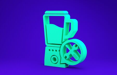 Green Blender with screwdriver and wrench icon isolated on blue background. Adjusting, service, setting, maintenance, repair, fixing. Minimalism concept. 3d illustration 3D render