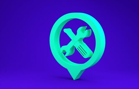 Green Location with crossed screwdriver and wrench tools icon isolated on blue background. Pointer settings symbol. Minimalism concept. 3d illustration 3D render Stock Photo