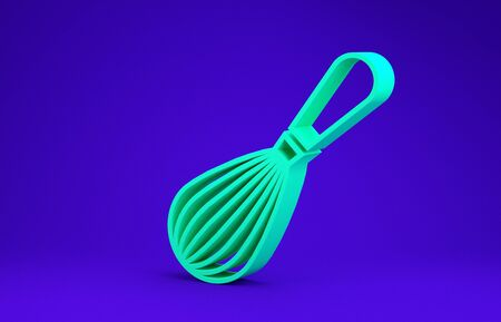 Green Kitchen whisk icon isolated on blue background. Cooking utensil, egg beater. Cutlery sign. Food mix symbol. Minimalism concept. 3d illustration 3D render 版權商用圖片