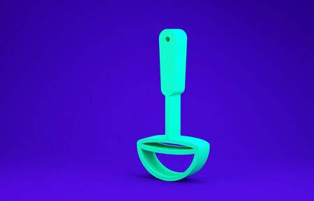 Green Kitchen ladle icon isolated on blue background. Cooking utensil. Cutlery spoon sign. Minimalism concept. 3d illustration 3D render