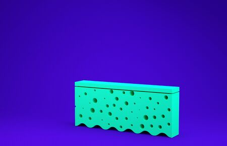 Green Sponge with bubbles icon isolated on blue background. Wisp of bast for washing dishes. Cleaning service Minimalism concept. 3d illustration 3D render Фото со стока
