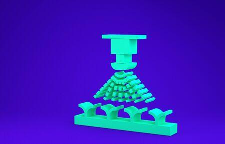 Green Automatic irrigation sprinklers icon isolated on blue background. Watering equipment. Garden element. Spray gun icon. Minimalism concept. 3d illustration 3D render Standard-Bild - 134786363