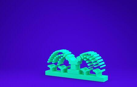 Green Automatic irrigation sprinklers icon isolated on blue background. Watering equipment. Garden element. Spray gun icon. Minimalism concept. 3d illustration 3D render Standard-Bild - 134786364