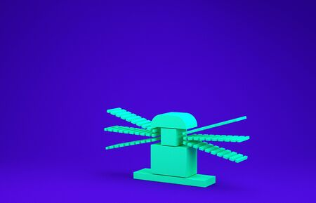 Green Automatic irrigation sprinklers icon isolated on blue background. Watering equipment. Garden element. Spray gun icon. Minimalism concept. 3d illustration 3D render Standard-Bild - 134786365