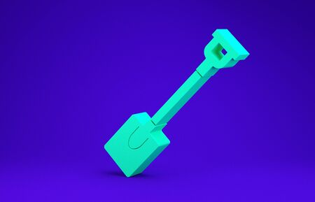 Green Garden shovel icon isolated on blue background. Gardening tool. Tool for horticulture, agriculture, farming. Minimalism concept. 3d illustration 3D render Stockfoto