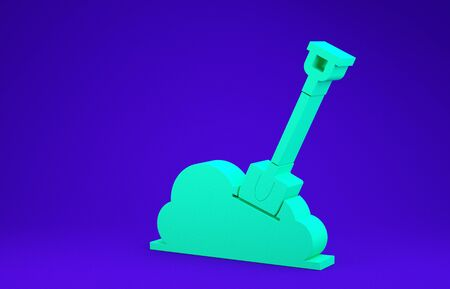 Green Shovel in the ground icon isolated on blue background. Gardening tool. Tool for horticulture, agriculture, farming. Minimalism concept. 3d illustration 3D render