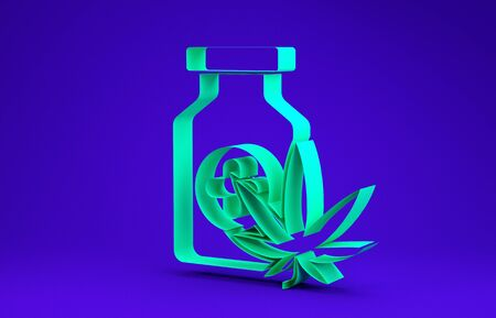 Green Medical bottle with marijuana or cannabis leaf icon isolated on blue background. Mock up of cannabis oil extracts in jars. Minimalism concept. 3d illustration 3D render