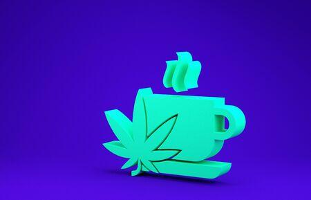 Green Cup tea with marijuana or cannabis leaf icon isolated on blue background. Marijuana legalization. Hemp symbol. Minimalism concept. 3d illustration 3D render