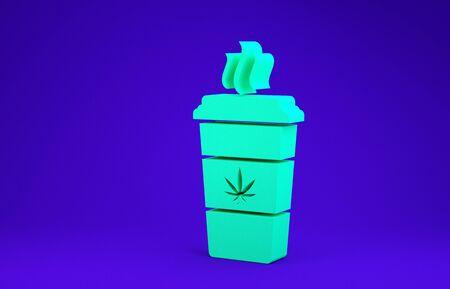Green Cup coffee with marijuana or cannabis leaf icon isolated on blue background. Marijuana legalization. Hemp symbol. Minimalism concept. 3d illustration 3D render