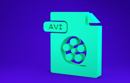 Green AVI file document. Download avi button icon isolated on blue background. AVI file symbol. Minimalism concept. 3d illustration 3D render 스톡 콘텐츠