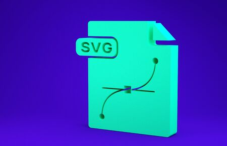 Green SVG file document. Download svg button icon isolated on blue background. SVG file symbol. Minimalism concept. 3d illustration 3D render