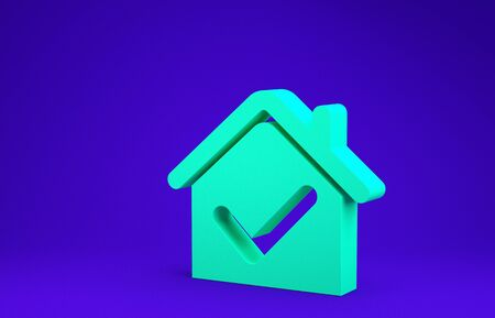Green House with check mark icon isolated on blue background. Real estate agency or cottage town elite class. Minimalism concept. 3d illustration 3D render Stock Photo