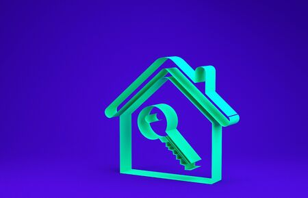 Green House with key icon isolated on blue background. The concept of the house turnkey. Minimalism concept. 3d illustration 3D render