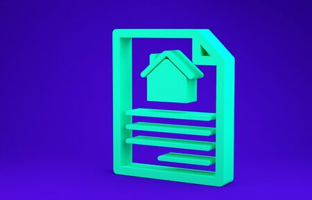 Green House contract icon isolated on blue background. Contract creation service, document formation, application form composition. Minimalism concept. 3d illustration 3D render