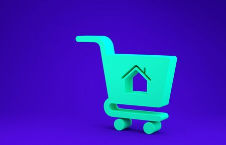 Green Shopping cart with house icon isolated on blue background. Buy house concept. Home loan concept, rent, buying a property. Minimalism concept. 3d illustration 3D render 版權商用圖片